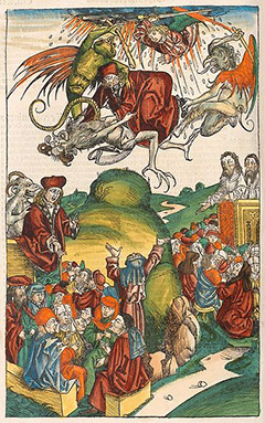The Death of Simon Magus from the Nuremberg Chronicle (or Liber Chronicarum), 1493