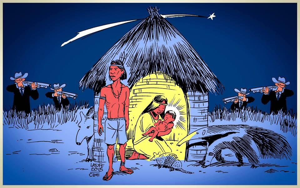Latuff: O Menino Jesus Indígena e o Herodes do Agronegócio