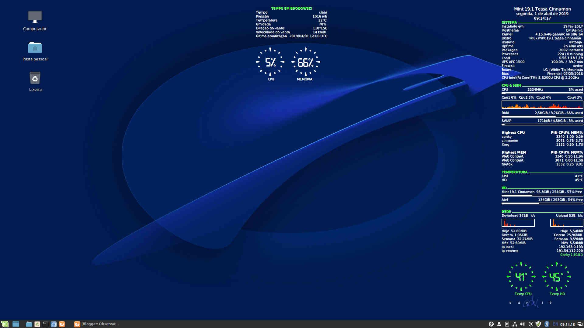 Conky 1.10.8-1 no Linux Mint 19.1 Tessa Cinnamon