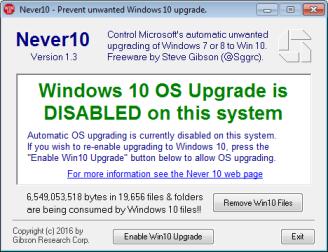 Never10 - A atualização para o Windows 10 está desabilitada