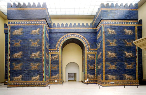 Porta de Ishtar na cidade de Babilônia. Pergamonmuseum, Berlin